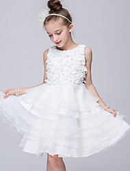 Princess Knee-Length Flower Girl Dress - Organza Round Neck with Applique Buttons