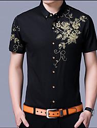 Masculino Camisa Social Outro Casual Simples Verão Outono,Sólido Estampado Algodão Colarinho Orifício Manga Curta Fina