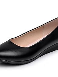 Damen Loafers & Slip-Ons Pumps Leder Frühling Herbst Pumps Keilabsatz Schwarz 2,5 - 4,5 cm
