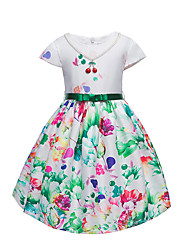 Girl's Floral Dress,Cotton Polyester Short Sleeve