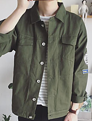 Men's Daily Modern/Comtemporary Fall Jacket,Print Letter Shirt Collar Long Sleeve Regular Others