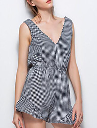 Women's Mid Rise Casual/Daily Rompers,Sexy A Line Backless Bow Plaid/Check Summer