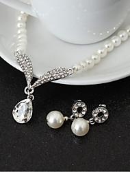 Juego de Joyas Cristal Perla Artificial Brillante Legierung Gota 1 Collar 1 Par de Pendientes Para Boda Fiesta Cumpleaños 1 Conjunto