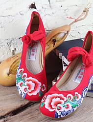 Mujer Zapatos de boda Lino Tejido Primavera Negro Rojo Plano