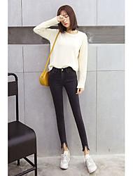 Damen Einfach Hohe Hüfthöhe Hochelastisch Jeans Skinny Hose
