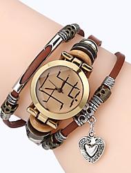 Men Premium Genuine Leather Watch Triple Bracelet Women Watch Loveheart Charm Wristwatch Fashion Para Femme