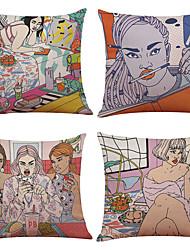 Set of 4 Pop Art Pattern  Linen Pillowcase Sofa Home Decor Cushion Cover(18*18)