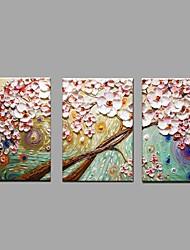Ручная роспись Цветочные мотивы/ботанический Горизонтальная,Пастораль Европейский стиль 3 панели Холст Hang-роспись маслом For Украшение