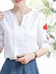 Damen Druck Einfach T-shirt,V-Ausschnitt Sommer Kurzarm Baumwolle Dünn