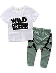 Boy's Fashion Rivet Sets Cotton Summer Spring Fall Short Sleeve T-shirt  Long Pants Clothing Set