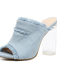 Women's Sandals Fabric Summer Crystal Heel Chunky Heel Light Blue 4in-4 3/4in