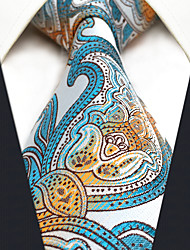 CXL4 New Extra Long  Men's Necktie Tie Blue Orange White Paisley 100% Silk Business New Jacquard Woven For Men