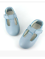 Girls' Flats First Walkers Cowhide Spring Fall Casual Walking First Walkers Magic Tape Low Heel Light Blue Flat