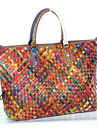 Women Tote Cowhide All Seasons Rectangle Braided Strap Zipper Rainbow