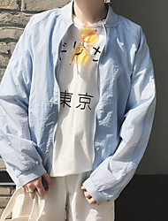 Men's Vacation Contemporary Cross-Seasons Jacket,Solid Round Neck Long Sleeve Regular Polyester