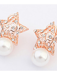 Korean  Style  Elegant  Luxury   Delicate  Star  Pearl Earrings  Girl  Party  Stud  Earrings Movie Jewelry