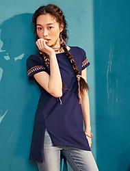 Dámské Jednobarevné Výšivka Běžné/Denní Vintage Jednoduché Tričko Bavlna Kulatý Krátký rukáv