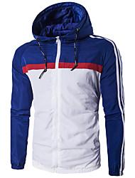 Для мужчин На каждый день Весна/осень Зима Куртка Капюшон,На каждый день Спорт Контрастных цветов Обычная Длинный рукав,Полиэстер
