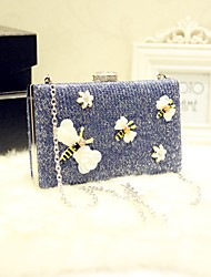 Women Evening Bag PU All Seasons Event/Party Casual Party & Evening Date Baguette Magnetic Navy Blue
