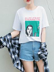 Damen Druck Einfach Alltag T-shirt,Rundhalsausschnitt ½ Länge Ärmel Baumwolle