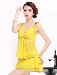 Для женщин Лето Как у футболки Платья Костюмы Глубокий V-образный вырез Без рукавов Слабоэластичная