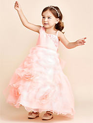 Ball Gown Ankle Length Flower Girl Dress - Organza Strap with Applique Beading Flower(s) Pick-Up Tiered