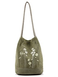 Women Shoulder Bag Canvas All Seasons Casual Barrel Magnetic Arm Green