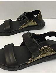 Men's Sandals Comfort Cowhide Spring Casual Comfort Black Flat