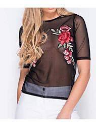 Для женщин На выход Рубашка Круглый вырез,Секси Однотонный С короткими рукавами,Другое
