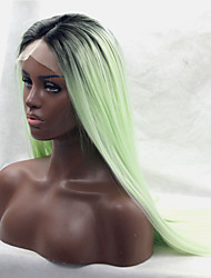 Fashion Silky Long Straight Wig Ombre Mint Green with Black Roots Fiber Hair Half Hand Tied Heat Resistant Glueless Synthetic Lace Front Wigs