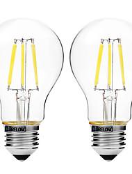 4W Lampadine LED a incandescenza A60(A19) 6 COB 450 lm Bianco caldo Bianco Oscurabile V 2 pezzi