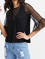 Damen Solide Einfach T-shirt,Rundhalsausschnitt Sommer Kurzarm Seide Transparent