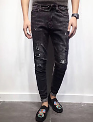 Homme simple Taille Normale strenchy Jeans Pantalon,Mince