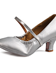 Women Girl Dance Shoes for  Modern Latin/Salsa with Chunky Heel  Leather Material in Silver/Brown/Black Customizable