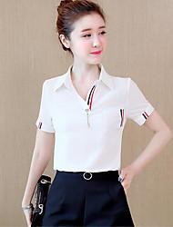 Damen Solide Einfach Normal T-shirt,V-Ausschnitt Kurzarm Andere