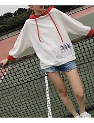 Sweat à capuche Femme Sportif Rayé Micro-élastique Coton Manches longues Printemps Eté