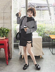 Women's Daily Simple Shirt,Striped Round Neck Long Sleeve Others