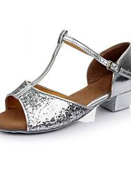 Maßfertigung Damen Latin Paillette Sneakers Innen Blockabsatz Gold Silber Rot
