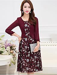 Patineuse Robe Femme Décontracté / QuotidienGéométrique Col Carré Mi-long Manches Longues Coton Polyester Eté Taille Normale