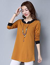 Damen Einfarbig Einfach T-shirt,V-Ausschnitt Langarm Baumwolle
