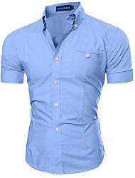 Для мужчин На каждый день Рубашка Классический воротник,Шинуазери (китайский стиль) Шахматка С короткими рукавами,Хлопок