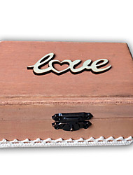 Wooden LOVE lace rectangular ring box - cinnamon