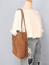Women Shoulder Bag Suede All Seasons Casual Barrel Magnetic Brown