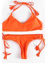 Da donna All'americana Bikini Con lacci Fantasia floreale Scollatura ampia Solidi