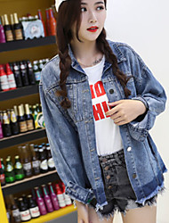 Women's Going out Sophisticated Spring Winter Denim Jacket,Solid Notch Lapel Long Sleeve Regular Cotton