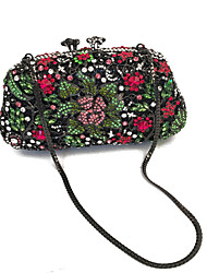 Women Fashion Floral Design Rhinestone Event/Party/Clutches Bag