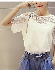 Damen Solide Einfach Normal T-shirt,Rundhalsausschnitt Sommer Kurzarm Andere Mittel