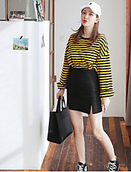 Women's Daily Classic Spring T-shirt Skirt Suits,Striped Crew Neck Long Sleeve strenchy