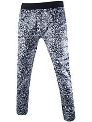 Hombre Activo Tiro Medio Microelástico Chinos Pantalones,Holgado Corte Ancho Estampado Leopardo