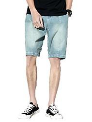 Homme simple Taille Normale Micro-élastique Jeans Short Pantalon,Large Toile de jean Couleur Pleine Couleur unie